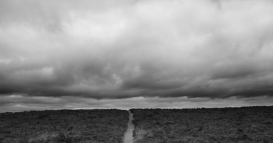 photo noir et blanc sentier landes ciel nuageux