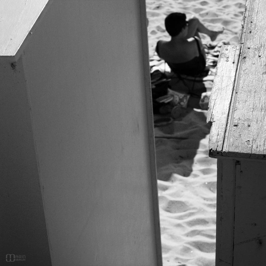 Sable et cabines de la plage Saint-Michel du bourg de Batz en Loire Atlantique