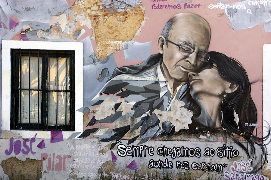 Fresque de Nark : José Saramago et Pilar Del Rio -  Lisbonne