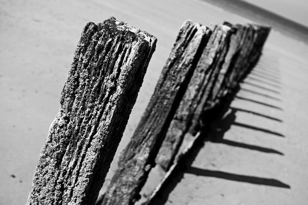 Pieux de plage à Saint-Malo
