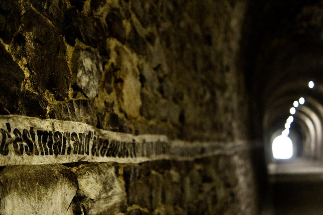 Ligne d'écriture dans un tunnel de chemin de fer réhabilité en chemin vert.