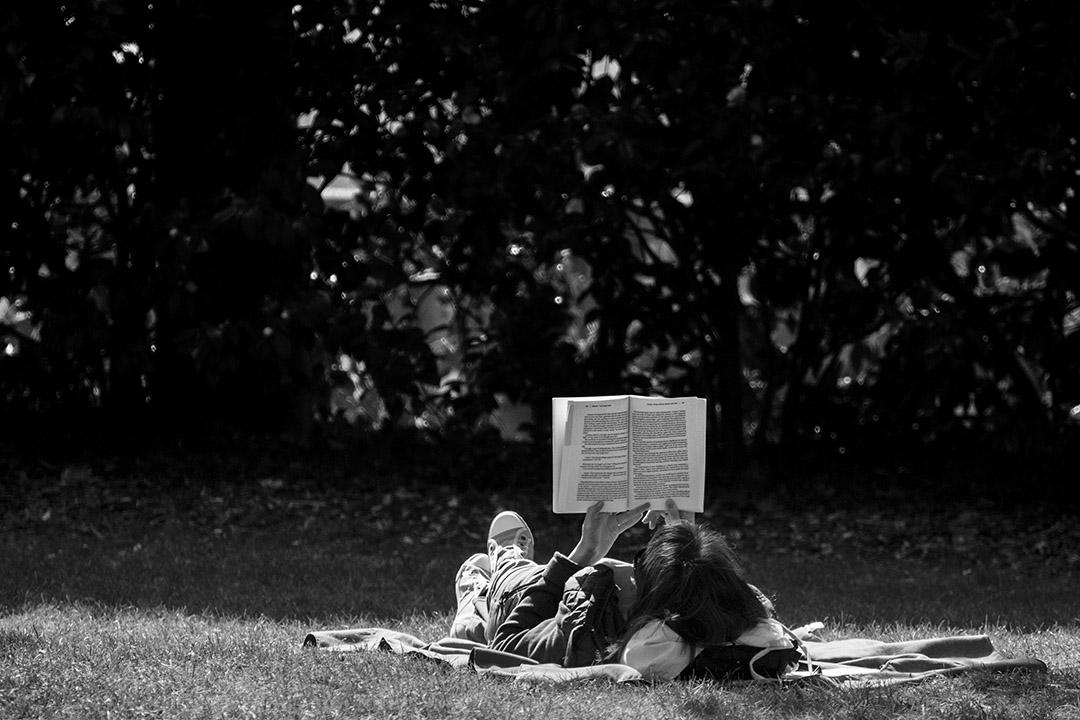 Pause lecture, allongée sur la pelouse d'un jardin public