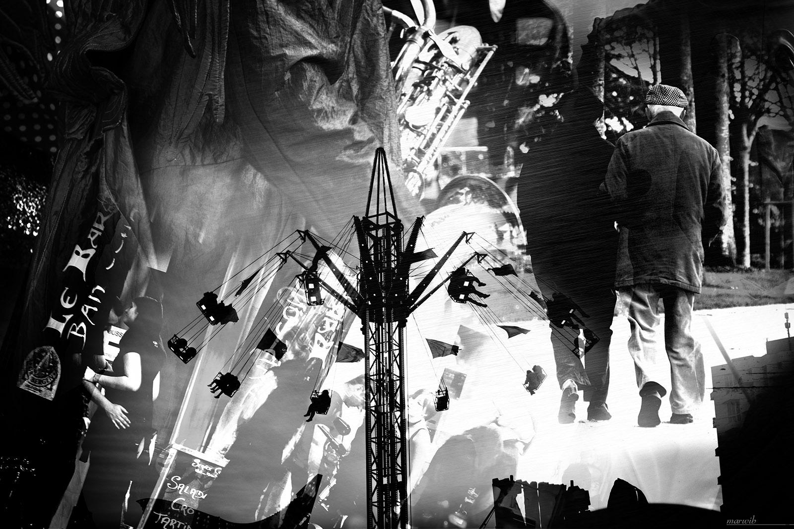 photo montage noir et blanc : foire, saxo et promenade