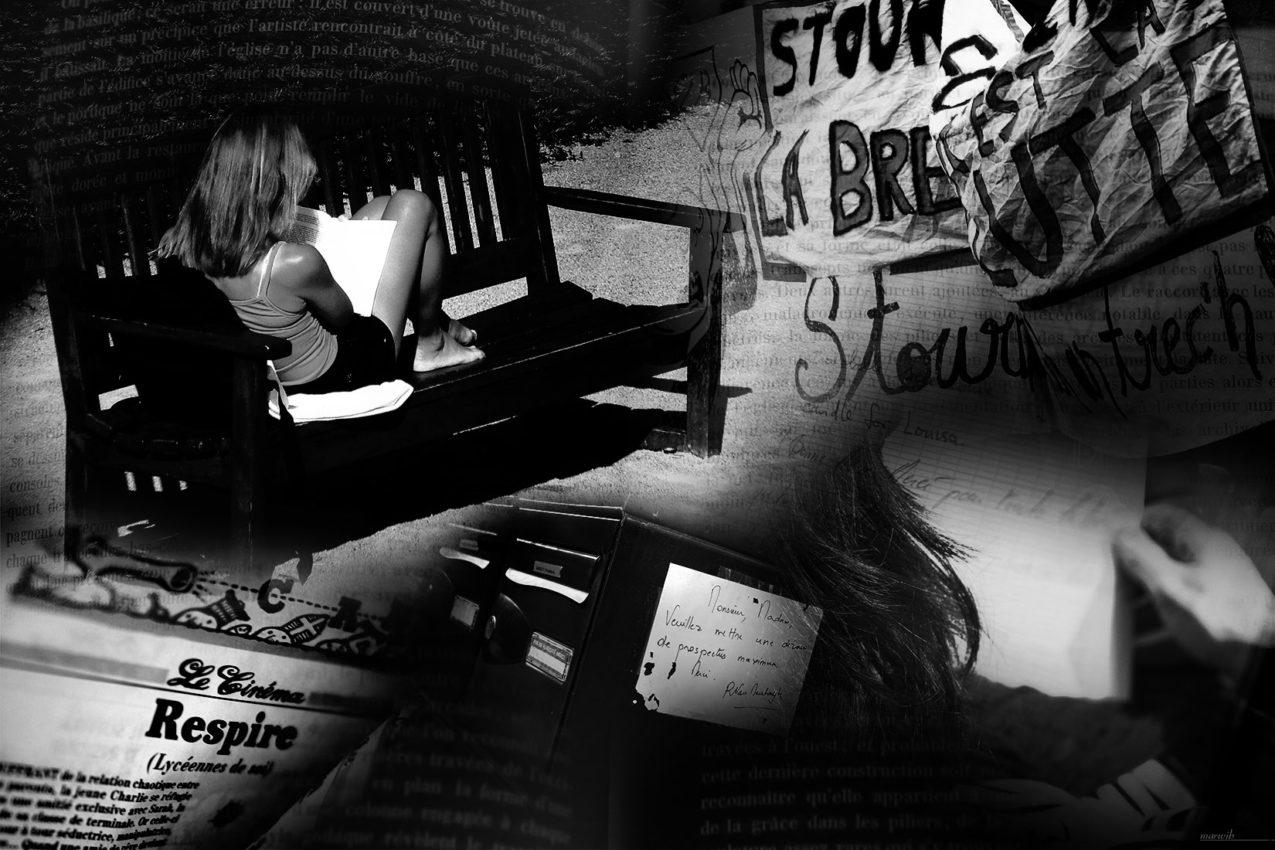 lecture et écritures : photo-montage noir et blanc