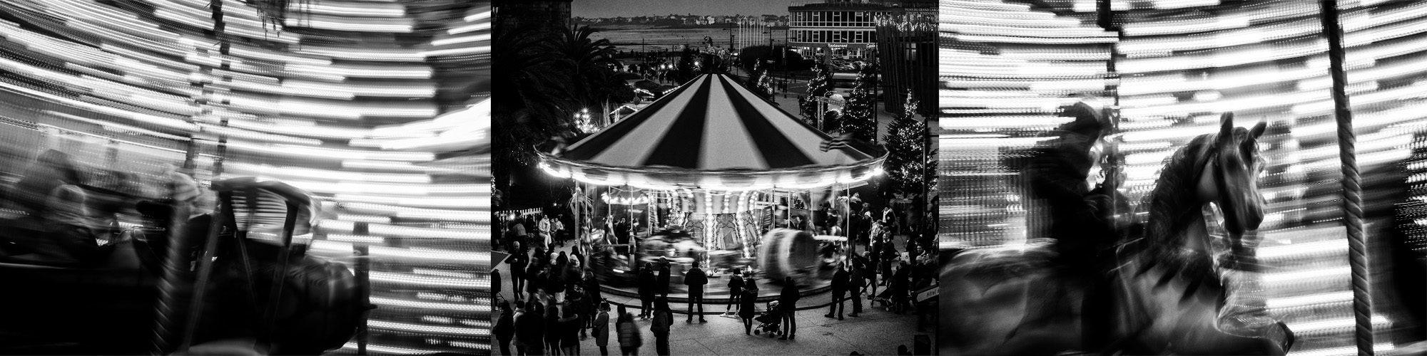 Manège de noël à Saint-Malo : carrousel noir et blanc