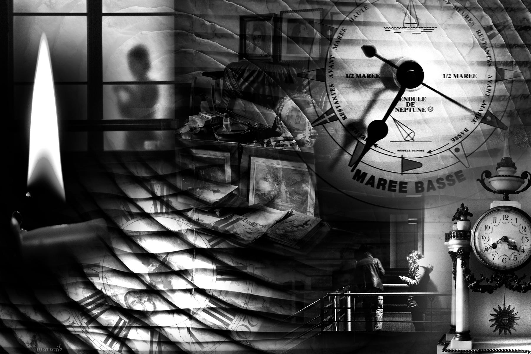 Le temps qui passe : photomontage noir et blanc